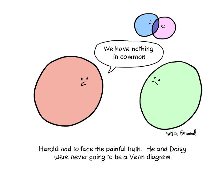 "Harold had to face the painful truth.  He and Daisy were never going to be a Venn diagram.  ""We have nothing in common."""