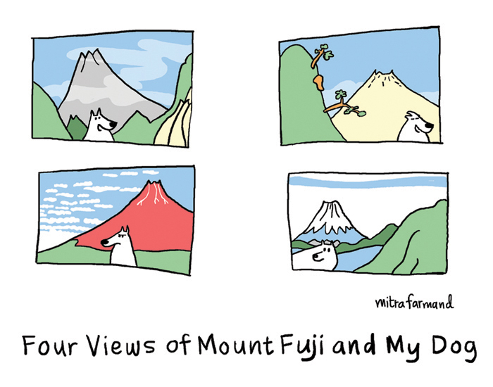 Four views of Mount Fuji and my dog.  Katsushika Hokusai.
