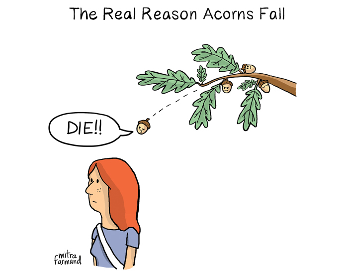 The real reason acorns fall.  Die!