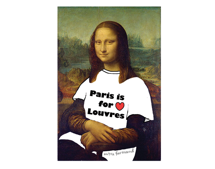 Mona Lisa wearing a T shirt that says Paris is for Louvres.