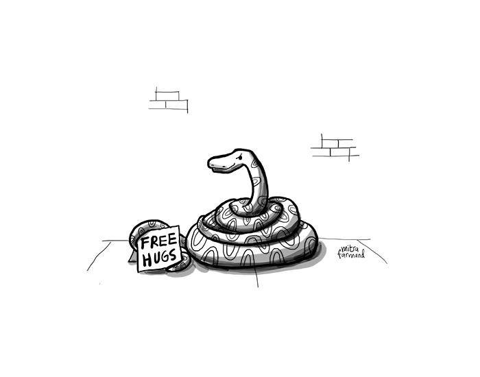 Snake hugs.
